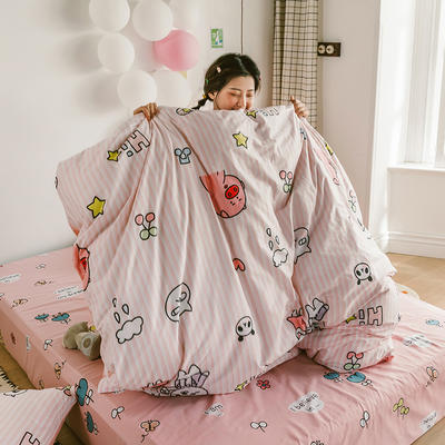 2020新款-日系呆萌卡通系列四件套电子图 床单款三件套1.2m(4英尺)床 A萌-大白兔