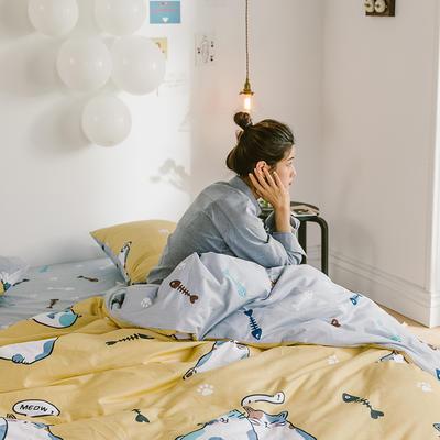 2020新款-日系呆萌卡通系列四件套电子图 床单款三件套1.2m(4英尺)床 A网红猫-黄
