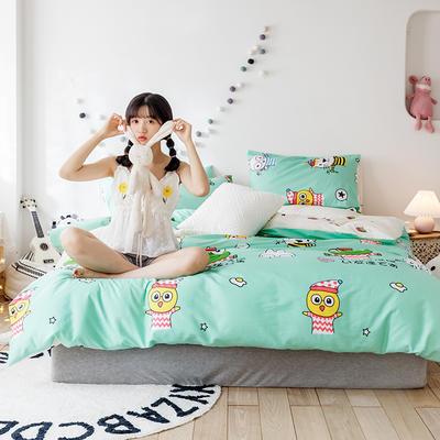 2020新款-日系呆萌卡通系列四件套电子图 床单款三件套1.2m(4英尺)床 小青蛙