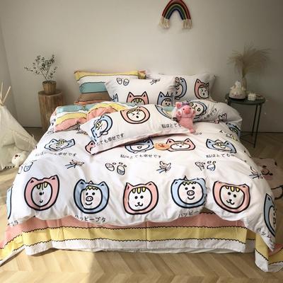 2020新款-日系呆萌卡通系列四件套实拍图 床单款三件套1.2m(4英尺)床 彩虹-福猫