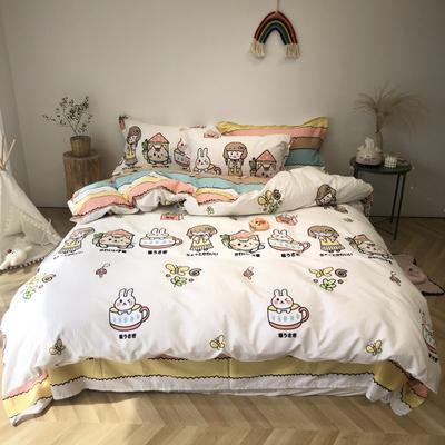 2020新款-日系呆萌卡通系列四件套实拍图 床单款三件套1.2m(4英尺)床 彩虹-女孩