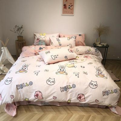 2020新款-日系呆萌卡通系列四件套实拍图 床单款三件套1.2m(4英尺)床 萌-大白兔