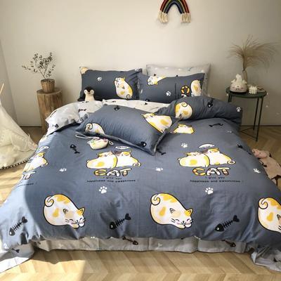 2020新款-日系呆萌卡通系列四件套实拍图 床单款四件套1.5m(5英尺)床 网红猫-蓝灰