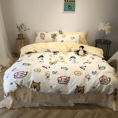 2020新款-日系呆萌卡通系列四件套实拍图 床单款三件套1.2m(4英尺)床 游乐园