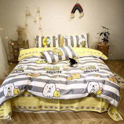 2020新款-日系呆萌卡通系列四件套实拍图 床单款三件套1.2m(4英尺)床 躲猫猫