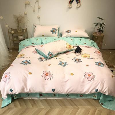 2020新款-日系呆萌卡通系列四件套实拍图 床单款三件套1.2m(4英尺)床 小花花