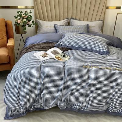 2020新款-梦想系列四件套实拍图 床单款三件套1.2m(4英尺)床 千鸟格-宝石蓝