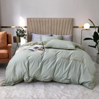 2020新款-梦想系列四件套实拍图 床单款三件套1.2m(4英尺)床 千鸟格-草木绿