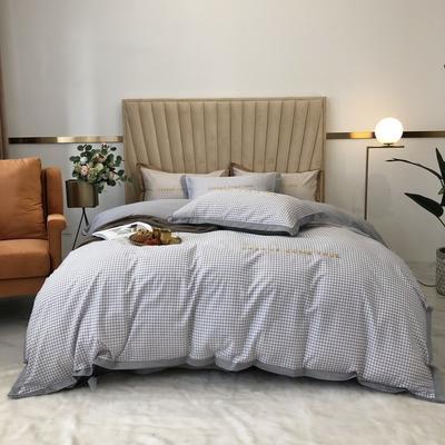 2020新款-梦想系列四件套实拍图 床单款三件套1.2m(4英尺)床 千鸟格-灰