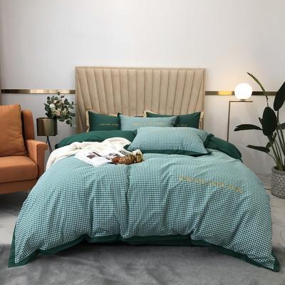 2020新款-梦想系列四件套实拍图 床单款三件套1.2m(4英尺)床 千鸟格-墨绿