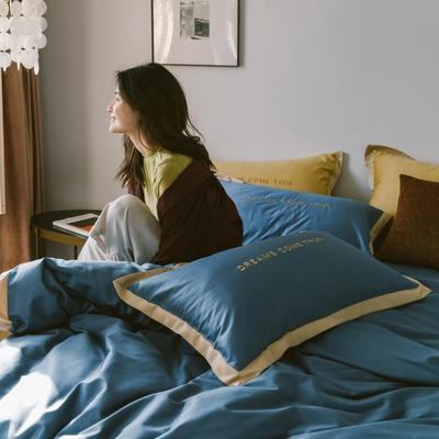2020新款-梦想系列四件套模特图 床单款三件套1.2m(4英尺)床 梦想-宾利蓝