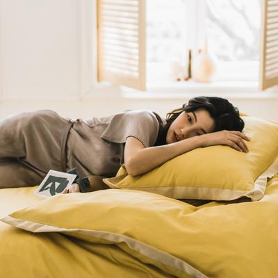 2020新款-梦想系列四件套模特图 床单款三件套1.2m(4英尺)床 梦想-黄色
