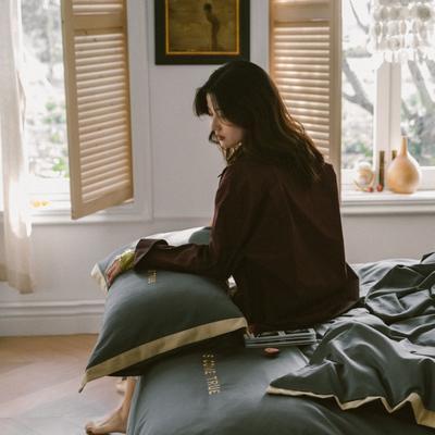2020新款-梦想系列四件套模特图 床单款三件套1.2m(4英尺)床 梦想-深灰