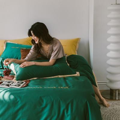 2020新款-梦想系列四件套模特图 床单款三件套1.2m(4英尺)床 梦想-祖母绿