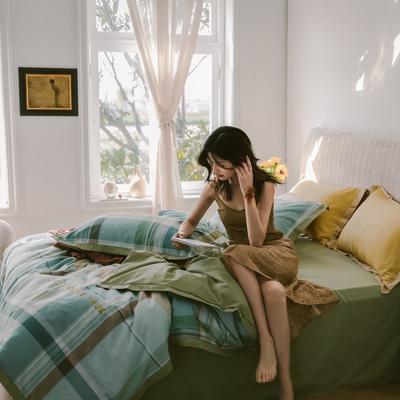 2020新款-梦想系列四件套模特图 床单款三件套1.2m(4英尺)床 抹茶风