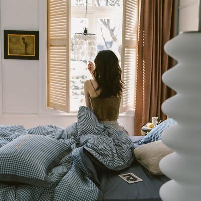 2020新款-梦想系列四件套模特图 床单款三件套1.2m(4英尺)床 千鸟格-宝石蓝