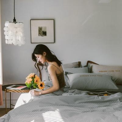 2020新款-梦想系列四件套模特图 床单款三件套1.2m(4英尺)床 千鸟格-灰