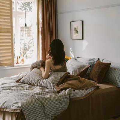 2020新款-梦想系列四件套模特图 床单款三件套1.2m(4英尺)床 千鸟格-咖啡