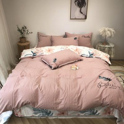 2020新款-水洗棉绣花系列四件套 床单款三件套1.2m(4英尺)床 春风吹