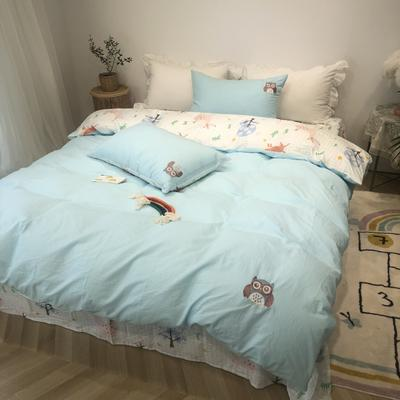 2020新款-水洗棉绣花系列四件套 床单款三件套1.2m(4英尺)床 动物世界