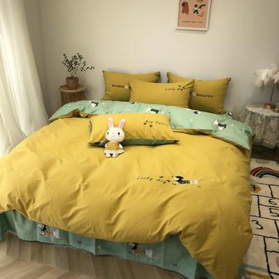2020新款-水洗棉绣花系列四件套 床单款三件套1.2m(4英尺)床 贵宾犬