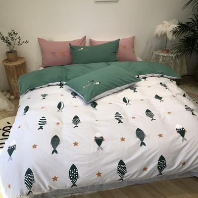 2020新款-水洗棉绣花系列四件套 床单款三件套1.2m(4英尺)床 好多小鱼