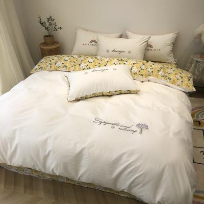 2020新款-水洗棉绣花系列四件套 床单款三件套1.2m(4英尺)床 花若盛开