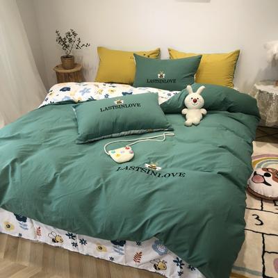 2020新款-水洗棉绣花系列四件套 床单款三件套1.2m(4英尺)床 酷奇蜜蜂