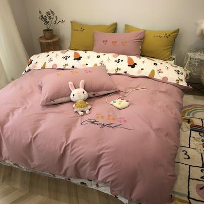 2020新款-水洗棉绣花系列四件套 床单款三件套1.2m(4英尺)床 萝卜爱
