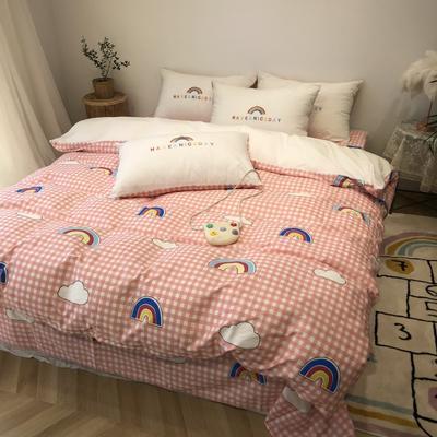 2020新款-水洗棉绣花系列四件套 床单款三件套1.2m(4英尺)床 梦想彩虹-粉