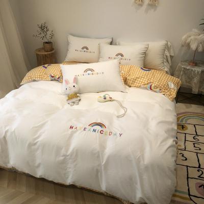 2020新款-水洗棉绣花系列四件套 床单款三件套1.2m(4英尺)床 梦想彩虹-姜黄
