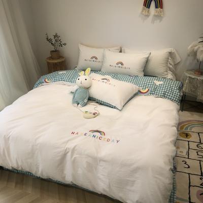 2020新款-水洗棉绣花系列四件套 床单款三件套1.2m(4英尺)床 梦想彩虹-蓝