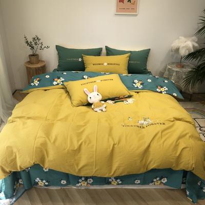 2020新款-水洗棉绣花系列四件套 床单款三件套1.2m(4英尺)床 陌上花开-黄