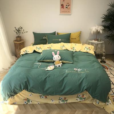 2020新款-水洗棉绣花系列四件套 床单款三件套1.2m(4英尺)床 陌上花开-绿