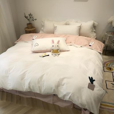 2020新款-水洗棉绣花系列四件套 床单款三件套1.2m(4英尺)床 仙人掌