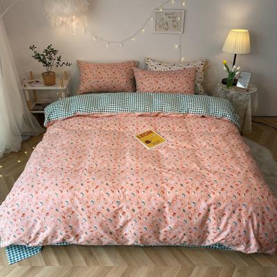 2020新款-韩版ins复古小碎花系列四件套 床单款四件套1.5m(5英尺)床 草莓小甜心花边款