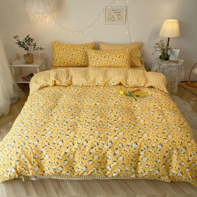 2020新款-韩版ins复古小碎花系列四件套 床单款四件套1.5m(5英尺)床 妃子笑花边款
