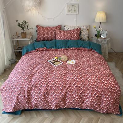 2020新款-韩版ins复古小碎花系列四件套 床单款四件套1.5m(5英尺)床 复古小花花边款