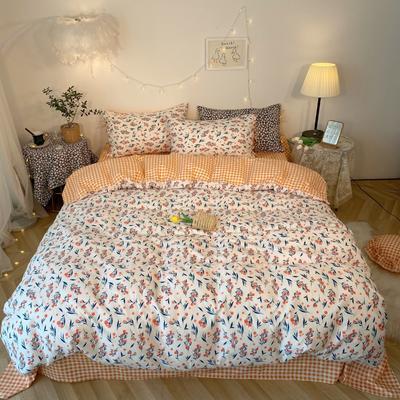 2020新款-韩版ins复古小碎花系列四件套 床单款四件套1.5m(5英尺)床 花涧集花边款