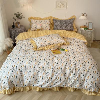2020新款-韩版ins复古小碎花系列四件套 床单款三件套1.2m(4英尺)床 momo熊基础版