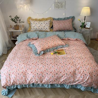 2020新款-韩版ins复古小碎花系列四件套 床单款四件套1.5m(5英尺)床 草莓小甜心基础款