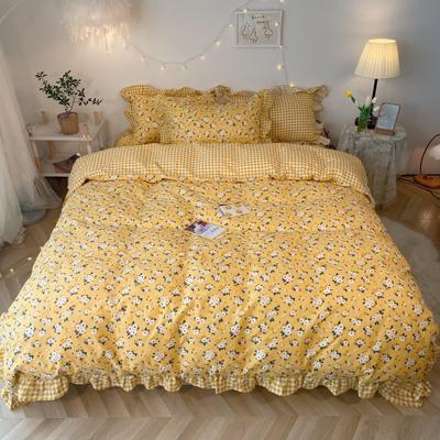 2020新款-韩版ins复古小碎花系列四件套 床单款四件套1.5m(5英尺)床 妃子笑基础版