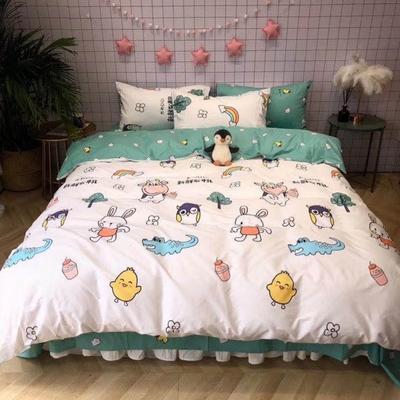 2020新款-日系呆萌卡通系列四件套实拍图 床单款四件套1.5m(5英尺)床 新鲜牛乳