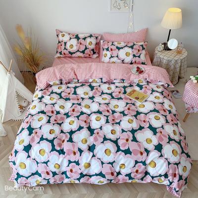 2020福利款-ins网红小清新四季款四件套 床单款三件套1.2m(4英尺)床 花音-粉