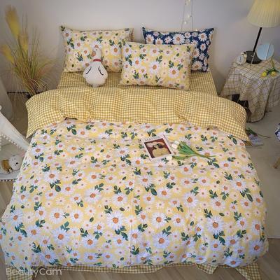 2020福利款-ins网红小清新四季款四件套 床单款三件套1.2m(4英尺)床 黄雏菊