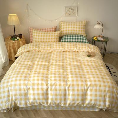 2020福利款-ins网红小清新四季款四件套 床单款三件套1.2m(4英尺)床 黄色方格
