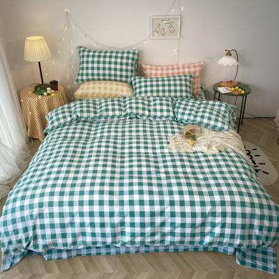 2020福利款-ins网红小清新四季款四件套 床单款三件套1.2m(4英尺)床 绿色方格