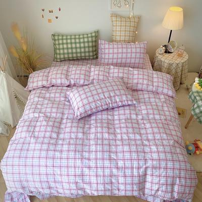 2020福利款-ins网红小清新四季款四件套 床单款三件套1.2m(4英尺)床 奶油格-粉
