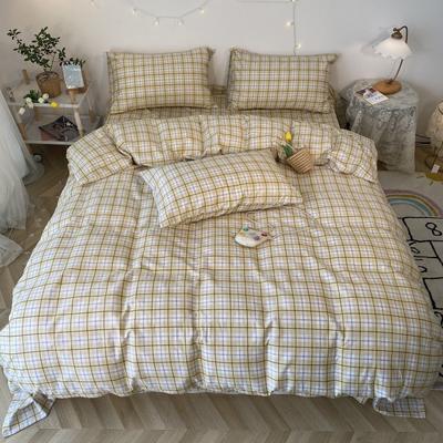 2020福利款-ins网红小清新四季款四件套 床单款三件套1.2m(4英尺)床 奶油格-黄