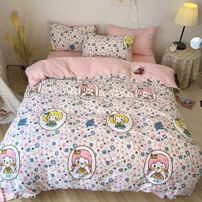2020福利款-ins网红小清新四季款四件套 床单款三件套1.2m(4英尺)床 苹果女孩-粉